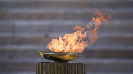 A general view of the Olympic flame during