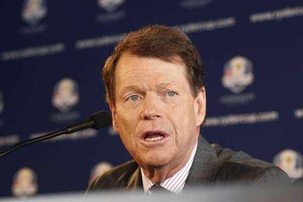Tom Watson speaks during the 2014 U.S. Ryder