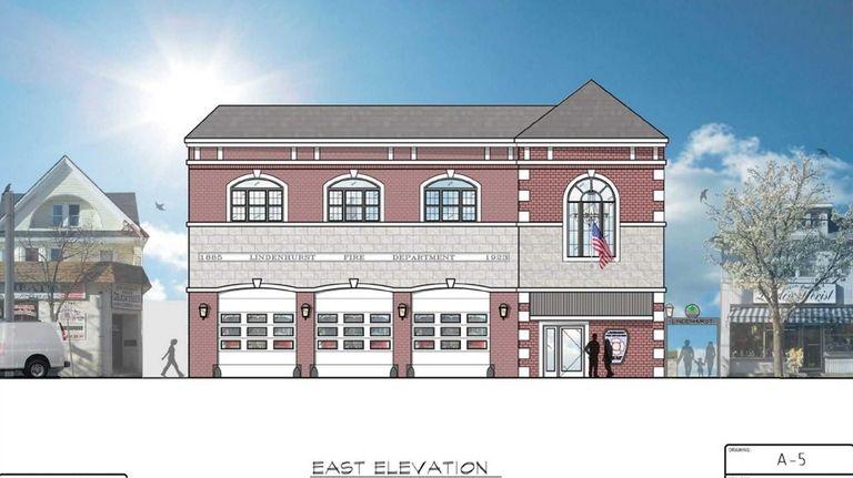 Rendering of new Lindenhurst Village firehouse on Wellwood