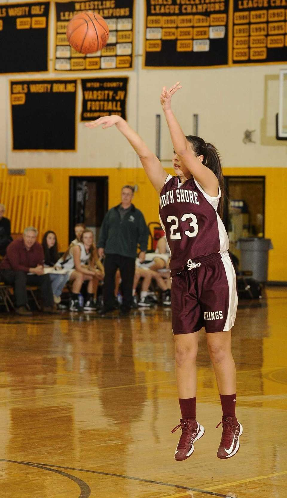 North Shore's Caroline Robertson attempts a 3-pointer during
