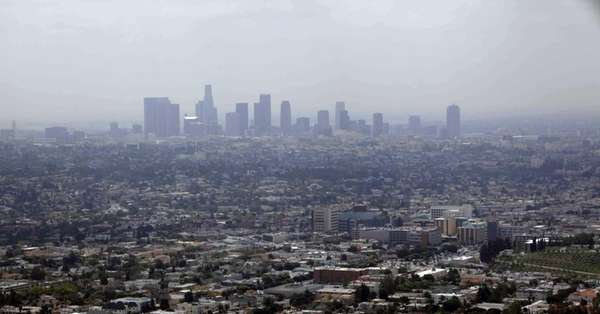 Smog covering downtown Los Angeles.