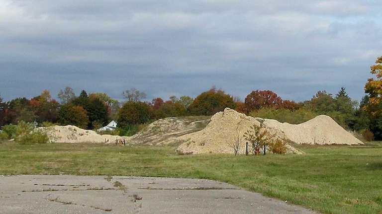 Mounds of dirt on the site of the