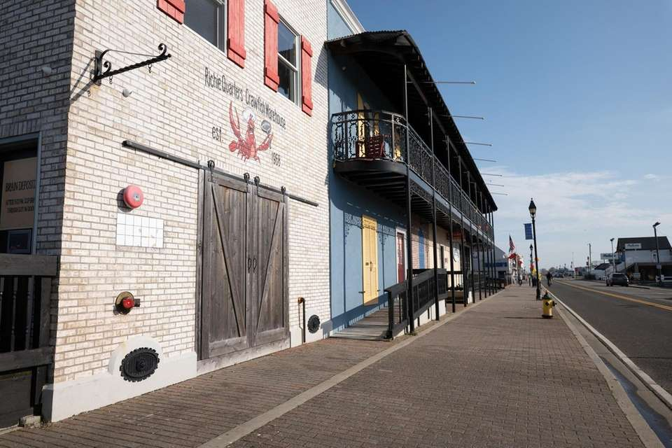Freeport's Nautical Mile is deserted on March 20