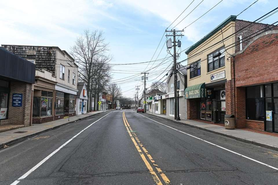 A desolate Main St. in Kings Park on