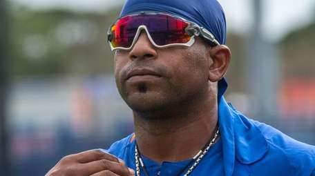 New York Mets outfielder Yoenis Cespedes during a
