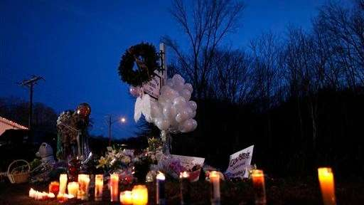 A memorial for shooting victims near Sandy Hook