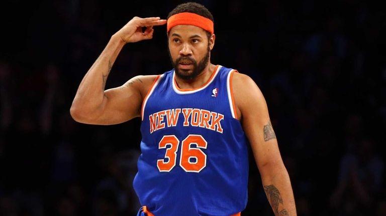 Rasheed Wallace of the New York Knicks celebrates