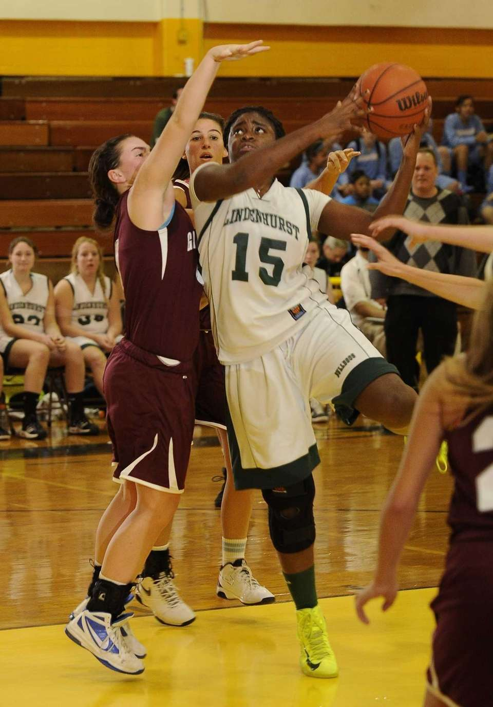 Lindenhurst's Valerie Oyakhilome shoots over Garden City's Kerry