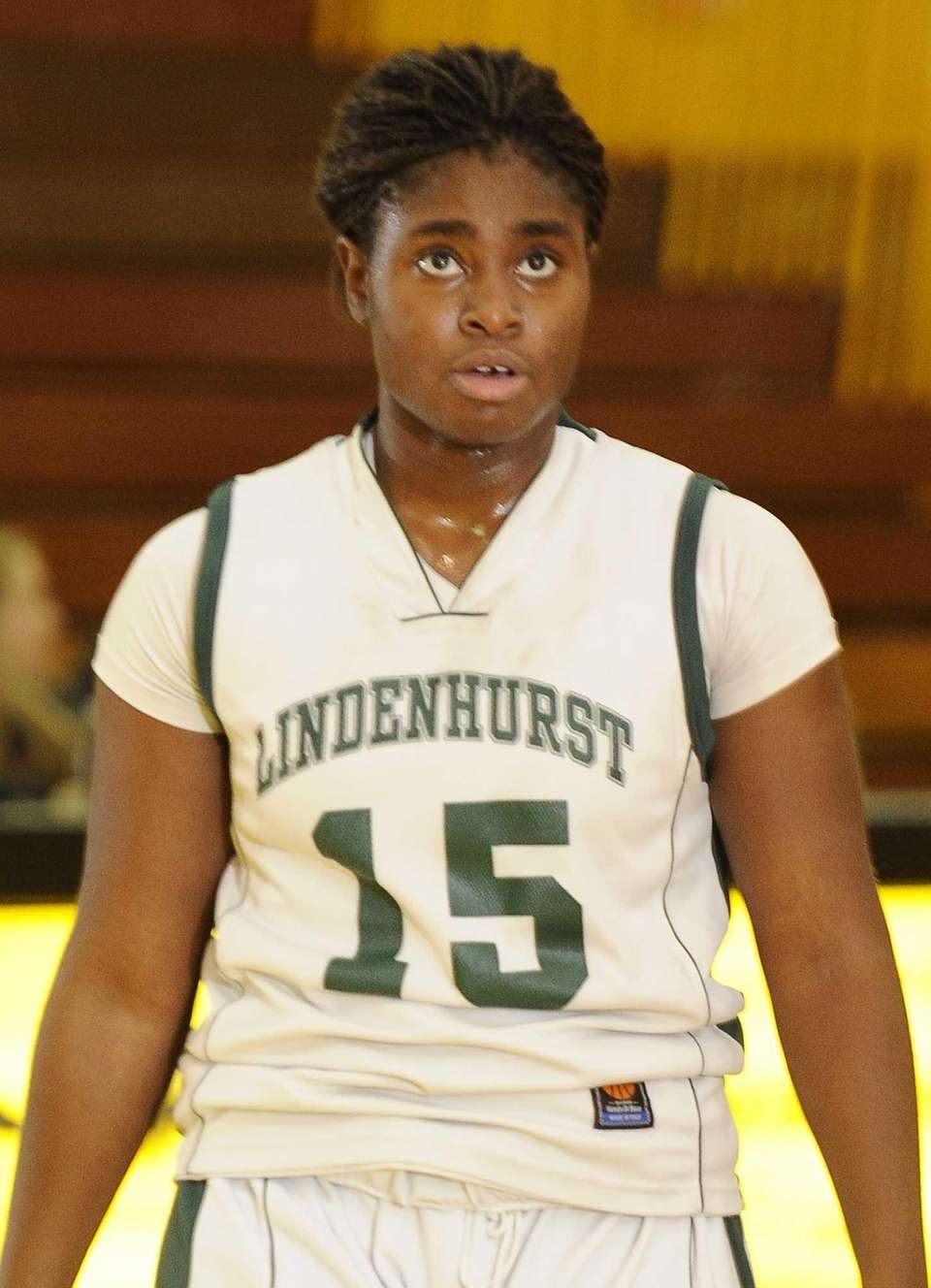 Lindenhurst's Valerie Oyakhilome looks on during a game
