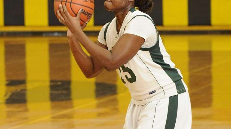 Lindenhurst's Valerie Oyakhilome lines up a 3-point shot