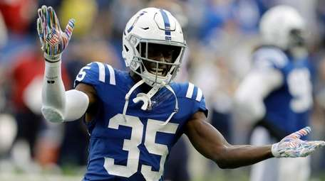 Colts cornerback Pierre Desir reacts during the second