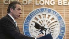 Governor Andrew Cuomo makes an announcement regarding superstorm