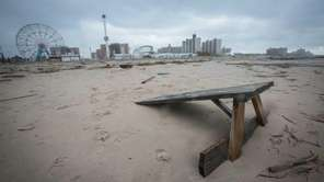 A half covered picnic table on Coney Island's
