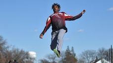 Freeport junior long jumper Christian Quinn soars through