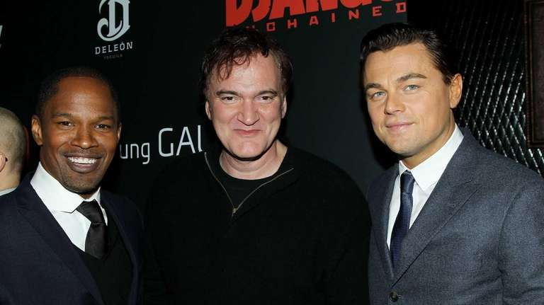Jamie Fox, left, director Quentin Tarantino, center,