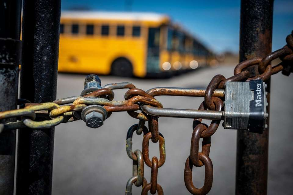 Long Beach school buses remained parked while schools