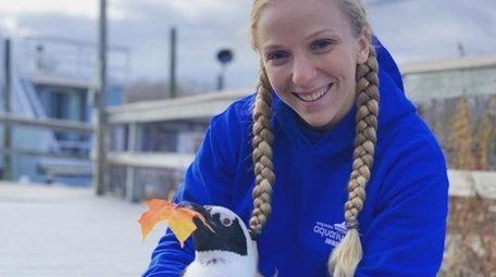 Long Island Aquarium staffer Elena Zanzarov with a