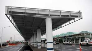 A terminal drop-off canopy, left, at Long Island