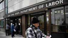 Visitors to the Department of Labor in Manhattan
