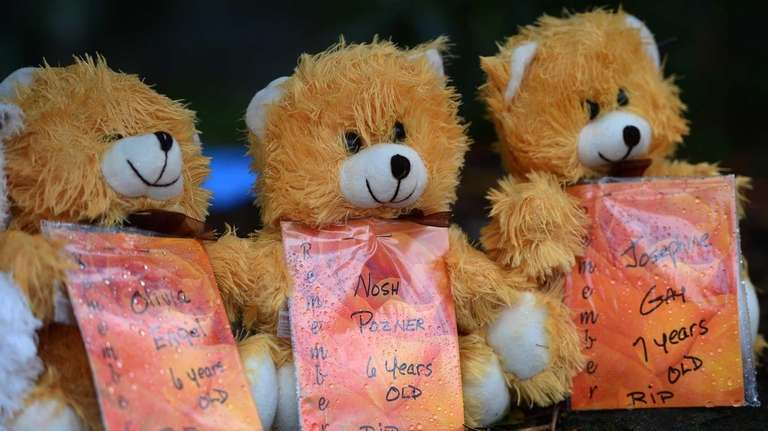 Teddy bears with the names of some of