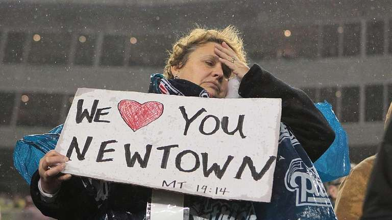 A New England Patriots fan shows support for