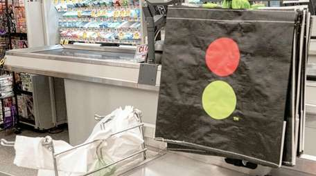 Reusable shopping bags at a Stop and Shop