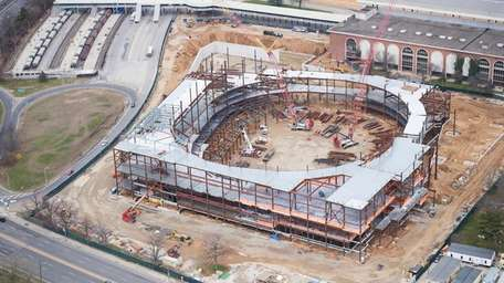 Aerial view of Belmont Park arena construction on