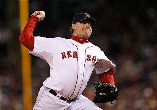 The Red Sox's Curt Schilling pitches against the