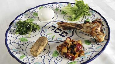 A traditonal seder plate.