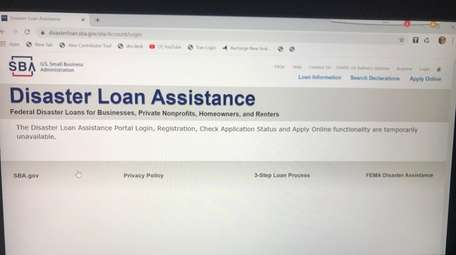 SBA disabled the portal's online application function on