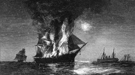An engraving, showing the Adriatic ablaze in 1864,
