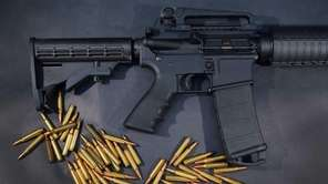 A Rock River Arms AR-15 rifle is seen