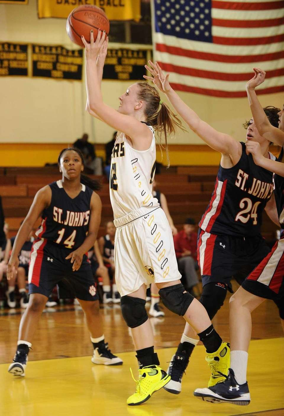 St. Anthony's guard Rebecca Musgrove shoots from under
