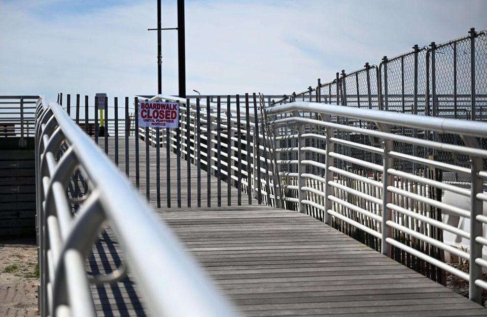 The Long Beach boardwalk was empty Friday, March