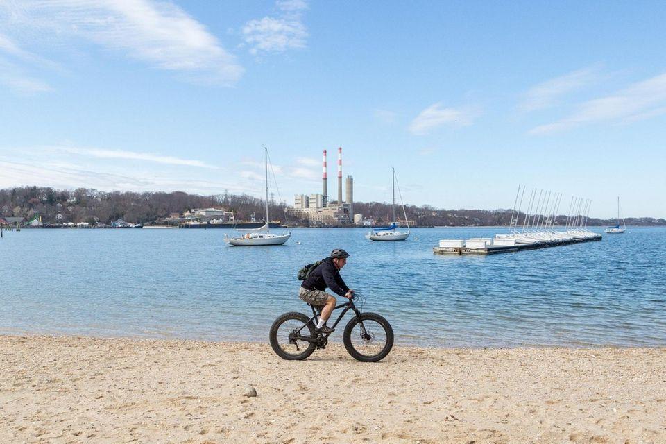 Brian Buckhout of Mt. Sinai rides his bike