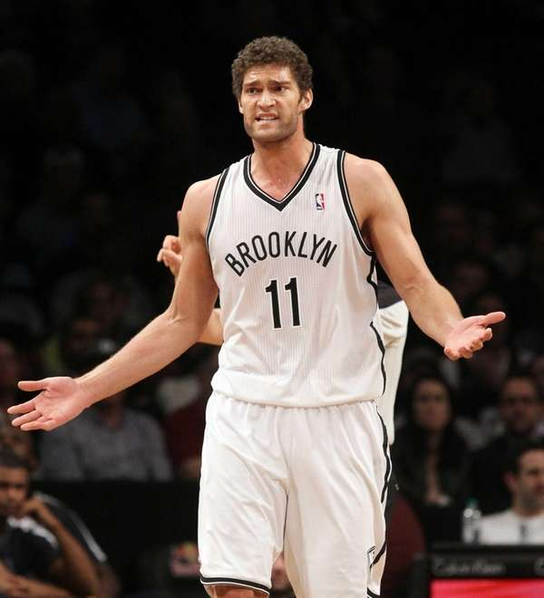 Brook Lopez reacts to a call in the