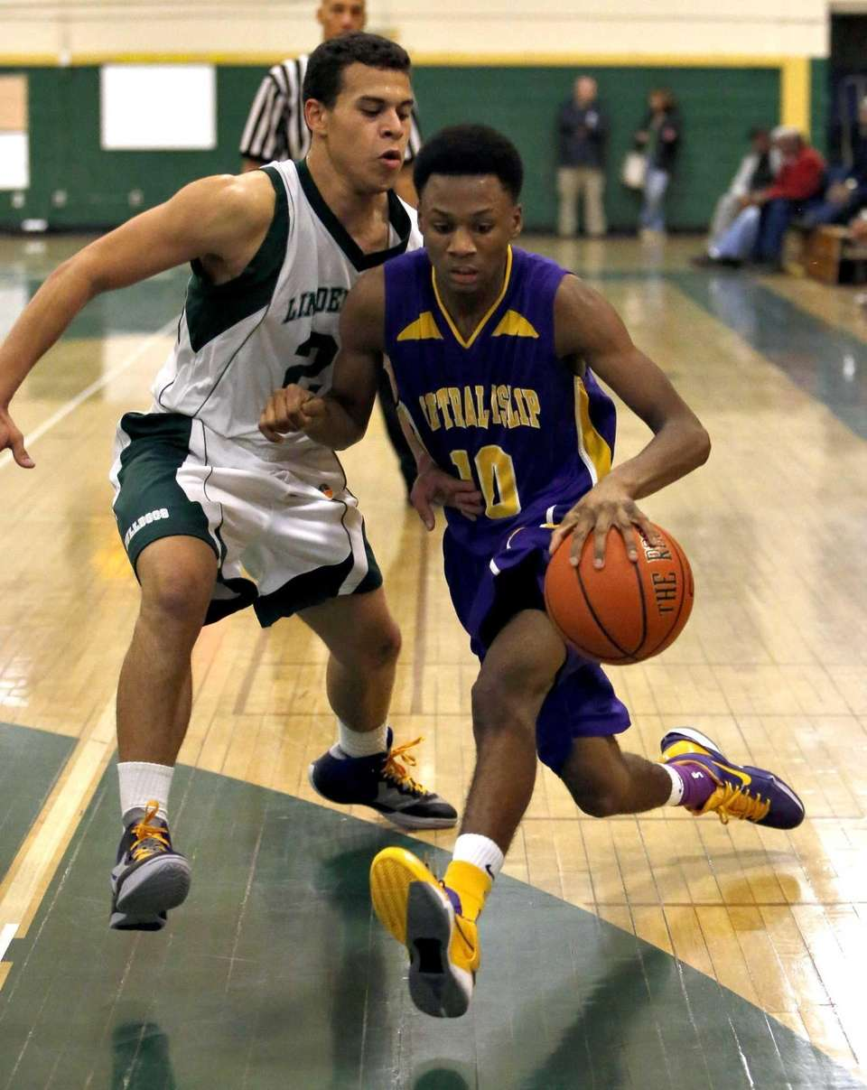 Central Islip's Corey Pepe drives into the paint