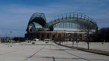 An empty Miller Park is seen on Tuesday