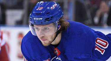 Rangers left wing Artemi Panarin looks on against