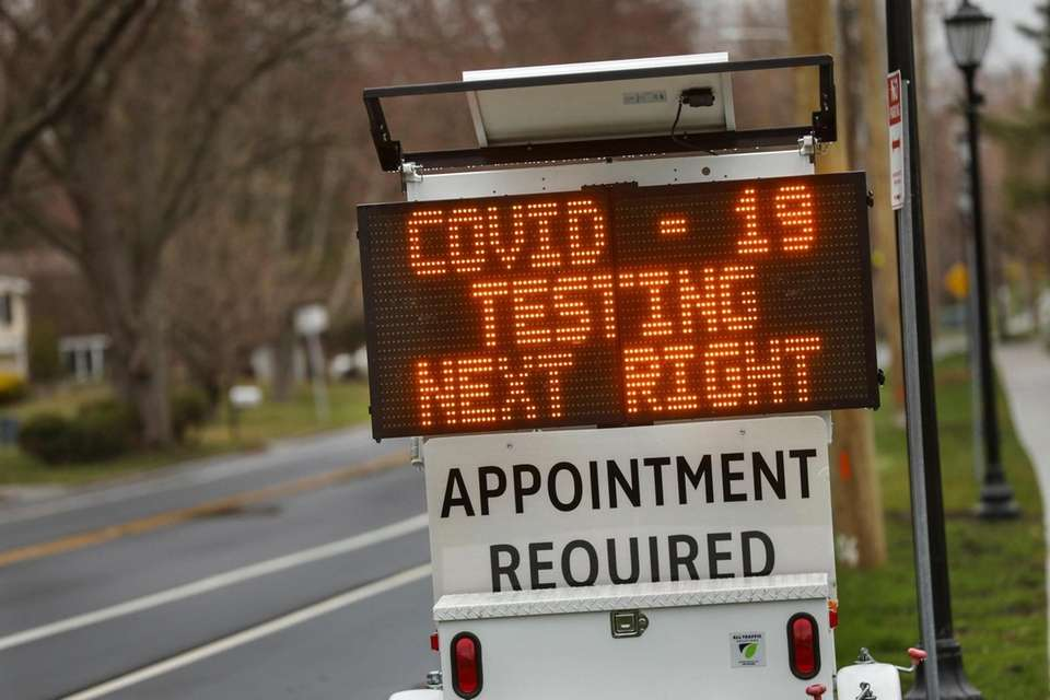 A digital sign on Stony Brook Road directs