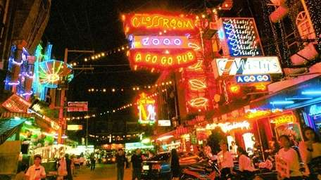 A night scene of the redlight district in
