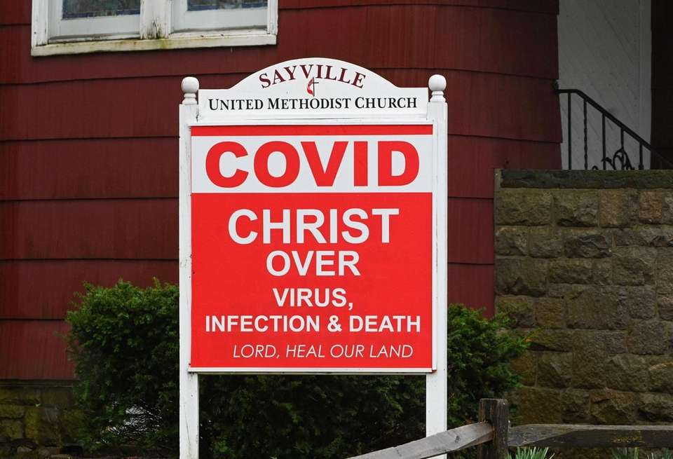 A sign outside the United Methodist Church on