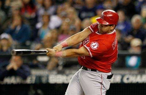 The Los Angeles Angels' Kendrys Morales takes a