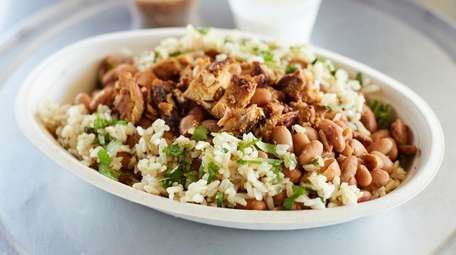 A grilled chicken bowl at Chipotle in Hicksville.