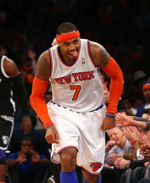 Carmelo Anthony celebrates a 3-pointer in the second