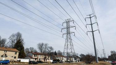LIPA power lines along Motor Lane in Bethpage,