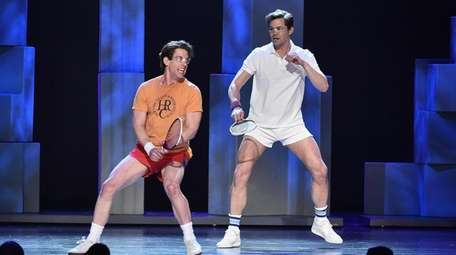 Christian Borle, left, Andrew Rannells can be seen