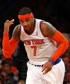 Carmelo Anthony celebrates a 3-pointer during a game