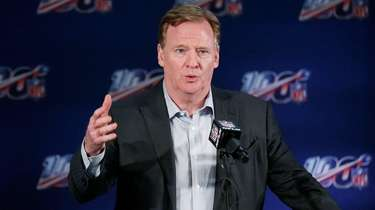 NFL Commissioner Roger Goodell speaks to the media