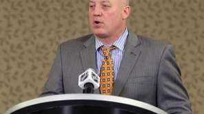 NHL deputy commissioner Bill Daly addresses the media